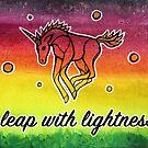 Leap with Lightness. Magical Unicorn Rainbow Watercolor Illustration. by mellierosetest
