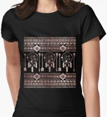 Dreamcatcher Rose Gold Tribal Aztec on Black Womens Fitted T-Shirt