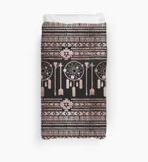 Dreamcatcher Rose Gold Tribal Aztec on Black Duvet Cover