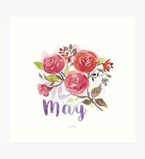 Mai Aquarell Blumen mit Lettering Kunstdruck