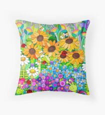 Ladybug Garden II Throw Pillow