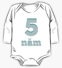 Baby learns Vietnamese - number five blue One Piece - Long Sleeve