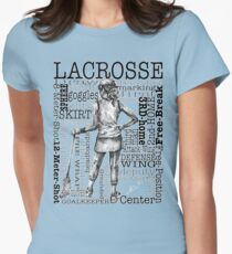 Word Montage-LACROSSE (Female-Border) Women's Fitted T-Shirt