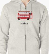 london bus Zipped Hoodie