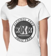 Straightedge XXX BnW Womens Fitted T-Shirt