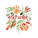 September Handlettering mit Blumen Aquarell von farbcafe