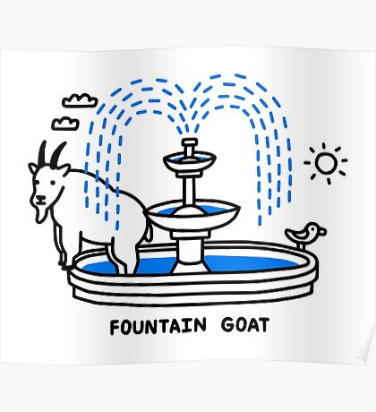 Fountain Goat Poster