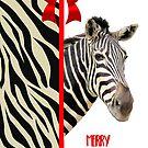 Zebra Christmas Card by Rosalie Scanlon