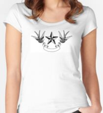 Swallows and Star tattoo flash Women's Fitted Scoop T-Shirt
