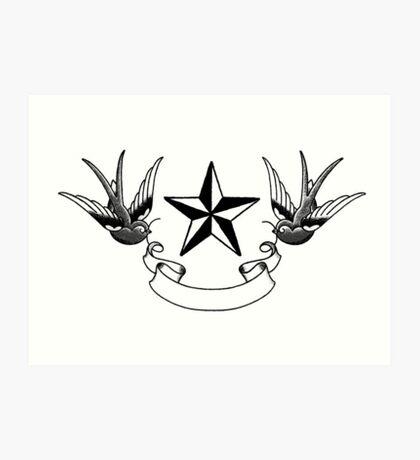 Swallows and Star tattoo flash Art Print