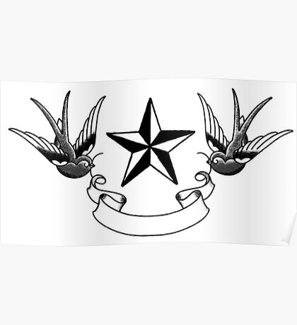 Swallows and Star tattoo flash Poster