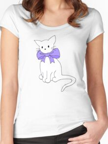 Cat with Purple Bow Women's Fitted Scoop T-Shirt