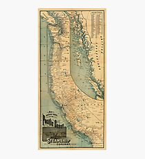 Steamship Route Map 1896 Photographic Print