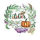 Oktober Handlettering mit floralem Aquarell und Kürbis von farbcafe