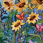 Sunflowers and Butterflies by Robin Pushe'e