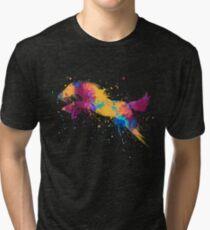 Colorful Jumping Horse Splatter paint Art Tri-blend T-Shirt