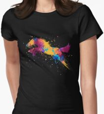 Colorful Jumping Horse Splatter paint Art Womens Fitted T-Shirt