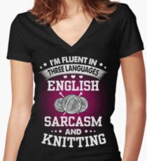 English, Sarcasm And Knitting Women's Fitted V-Neck T-Shirt