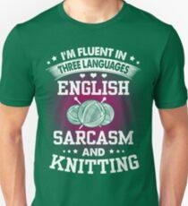 English, Sarcasm And Knitting Unisex T-Shirt