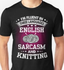 English, Sarcasm And Knitting Unisex T-Shirt