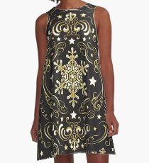 Kunstvolle Schneeflocke Muster - Schwarz 2 A-Linien Kleid