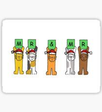 Mr and Mr Chrismas Cats Sticker