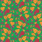Scarlet and Gold Autumn Leaf Pattern by Art2Me