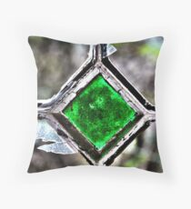 Old window with broken glass Throw Pillow