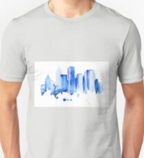 silhouette of the city of new York watercolor hand-drawn T-Shirt