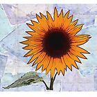 Fantasy Sunflower with Blue Paper Texture by Art2Me