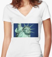 Statue Of Liberty Close Women's Fitted V-Neck T-Shirt