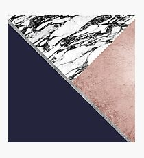 Marble Rose Gold Navy Blue Triangle Geometric Photographic Print
