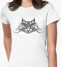 Cat - Black and White Tattoo Women's Fitted T-Shirt