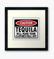 Caution: Tequila vintage sign Framed Print