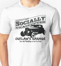 Outlaw's Garage. Socially unaccepted Hot Rod light bkg T-Shirt