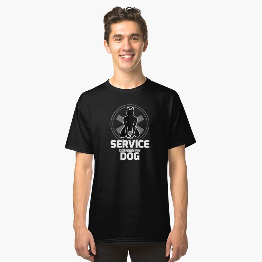 Nerdy Doggo Service Dog Classic T-Shirt Front