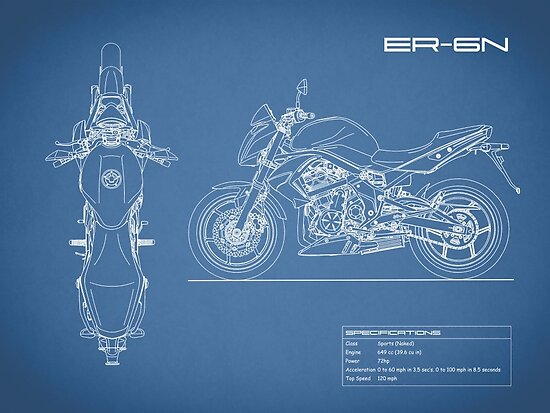 The er 6n motorcycle blueprint posters by rogue design redbubble the er 6n motorcycle blueprint by rogue design malvernweather Images