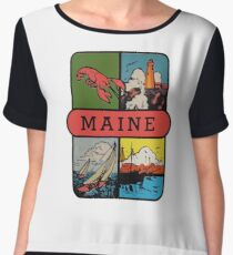 Maine Lobster Sailing Vintage Travel Decal Women's Chiffon Top