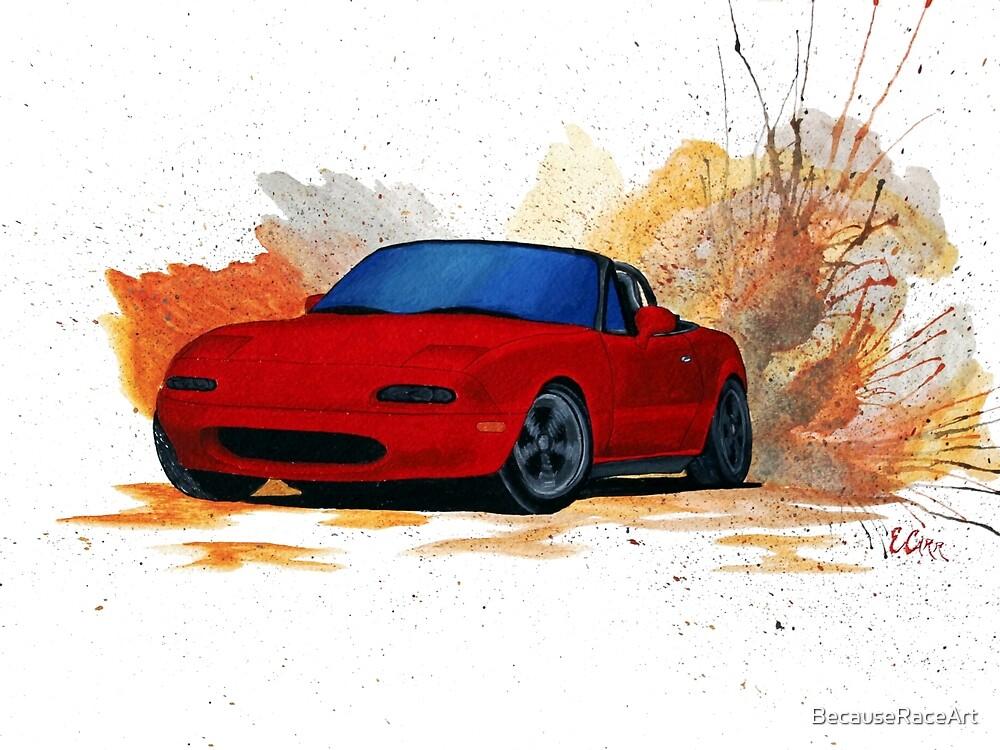 Mazda Miata Drift Painting by BecauseRaceArt