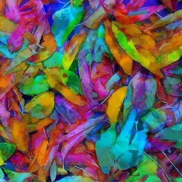 Colorful fantasy fallen leaves by CatyArte