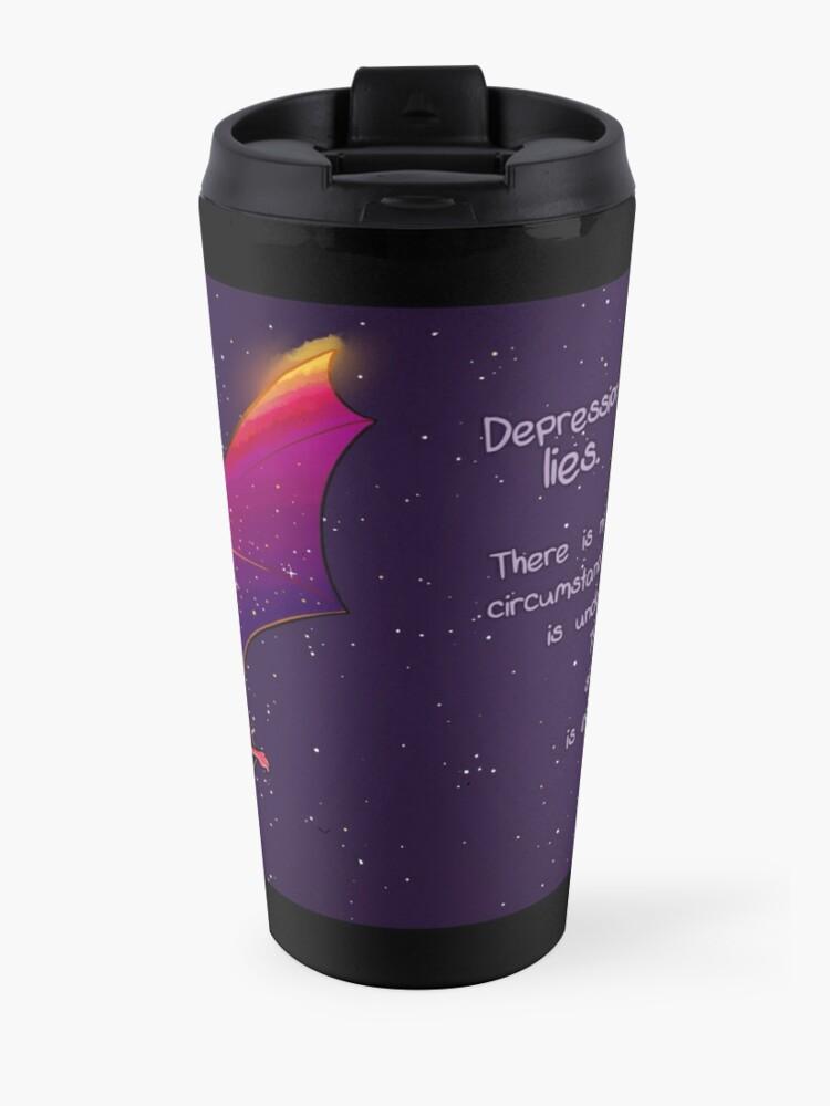 "Alternate view of ""Depression Lies"" Galaxy Bat Travel Mug"