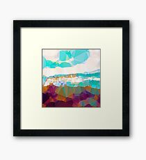 Abstract,polycon,polygonal,landscape,nature,multi color,modern,trendy,elegant,contemporary art Framed Print