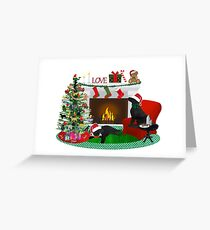 Night Before Christmas- Preppy Black Labs Greeting Card
