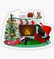 Night Before Christmas- Preppy Black Labs Sticker