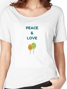 PEACE AND LOVE AND BALLOONS Women's Relaxed Fit T-Shirt