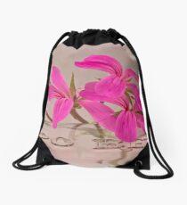 Pink Geranium Blossoms - Macro Drawstring Bag
