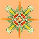 Bean-Carrot-Corn Mandala-peach by BetsyRiley
