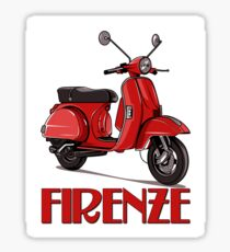 FIRENZE - Florence Italy -  on a bright red Scooter! Sticker