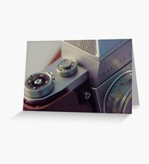 Abstract view of  Praktica Vintage 35mm camera, showing the lens, ISO, fstops and body Greeting Card