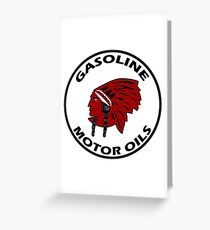 Red Indian Gasoline vintage sign reproduction Greeting Card